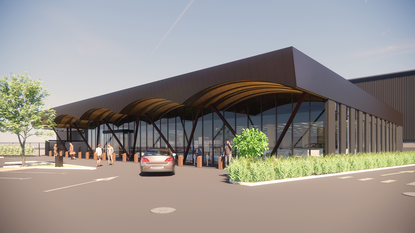 Architect render Tidal Road Warehouse - view from car park