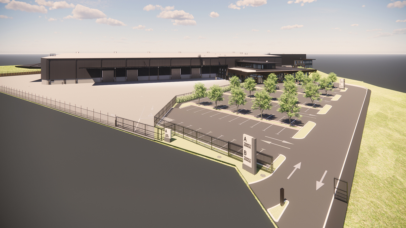 Architect render Tidal Road Warehouse - aerial view