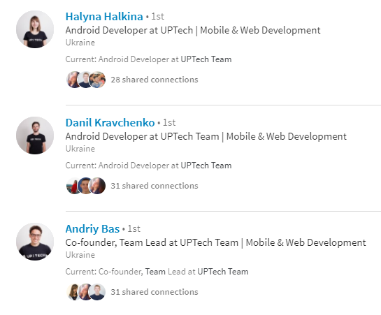 LinkedIn profiles of Uptech team members