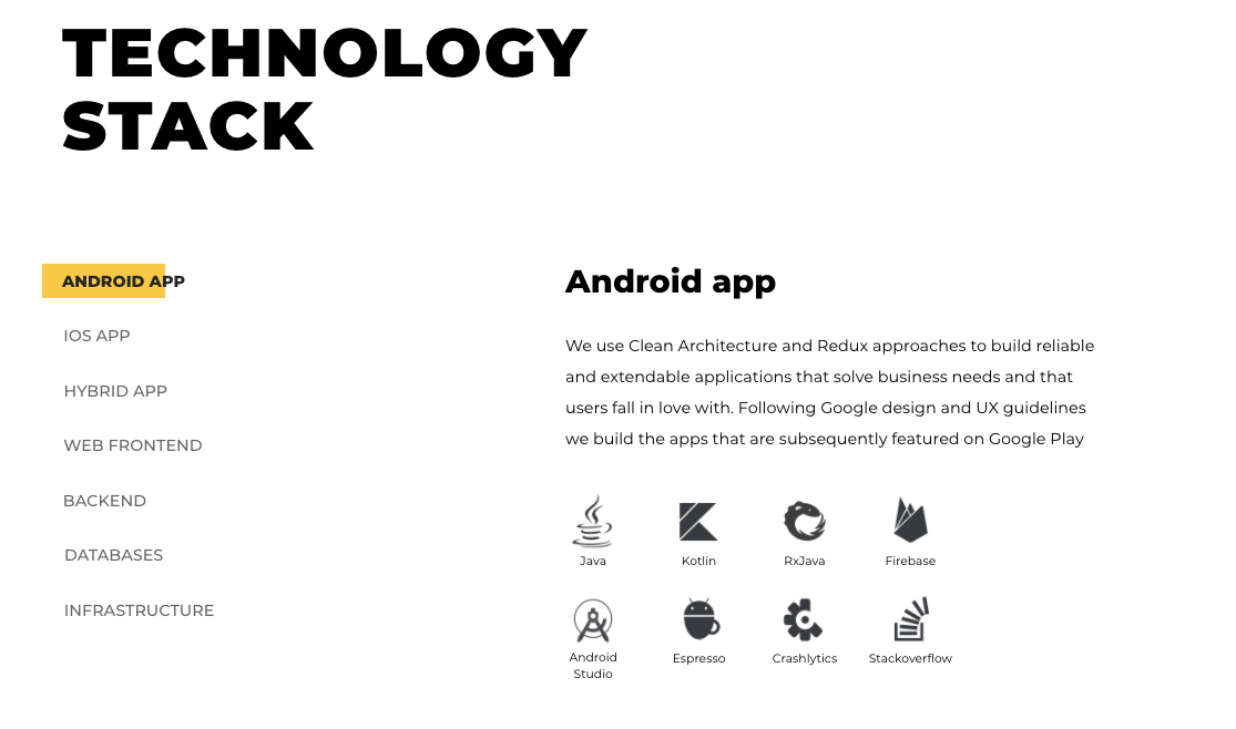Discover Technology stack