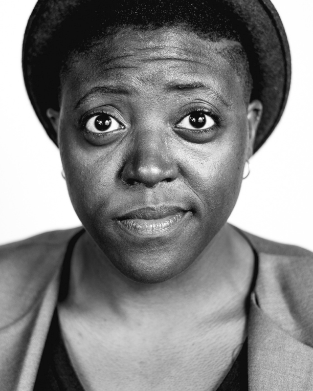 Black and white portrait of Shantira Jackson