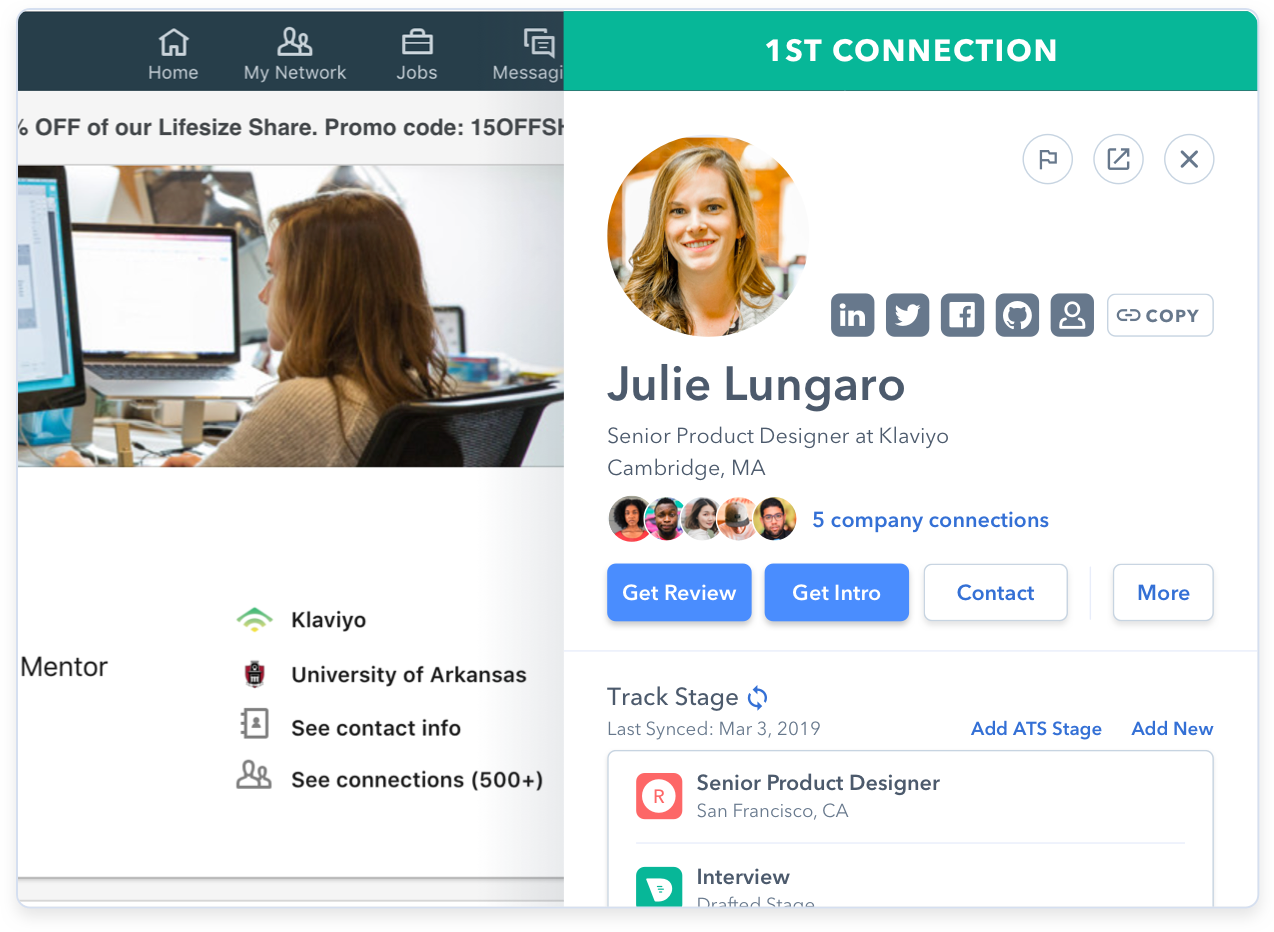Image of company connects you can use to establish contact with a candidate