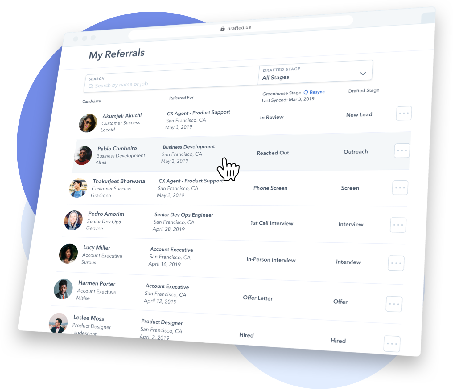 Image of how employees can track their referrals in Drafted