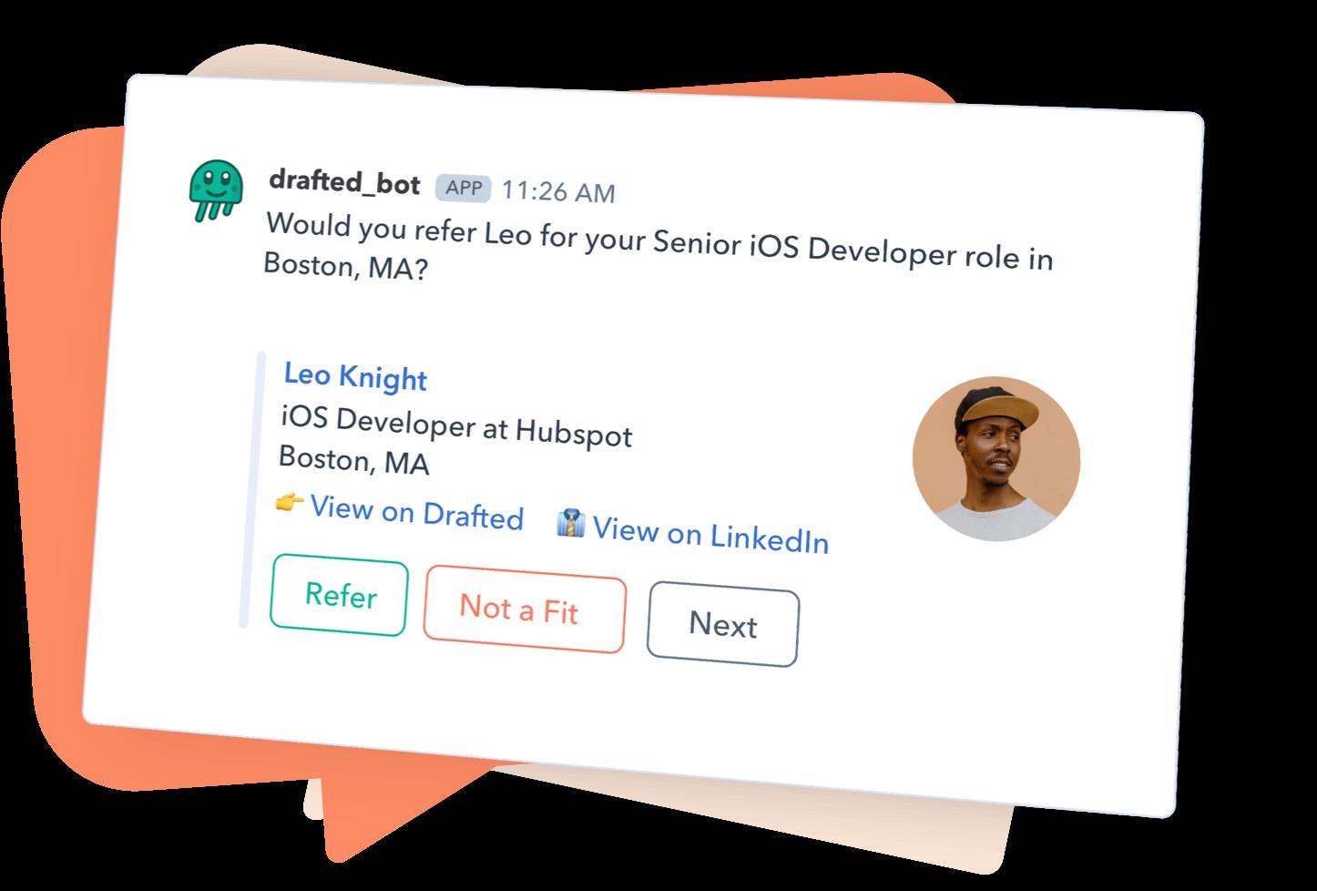 Image of Slack smart referral suggestion.
