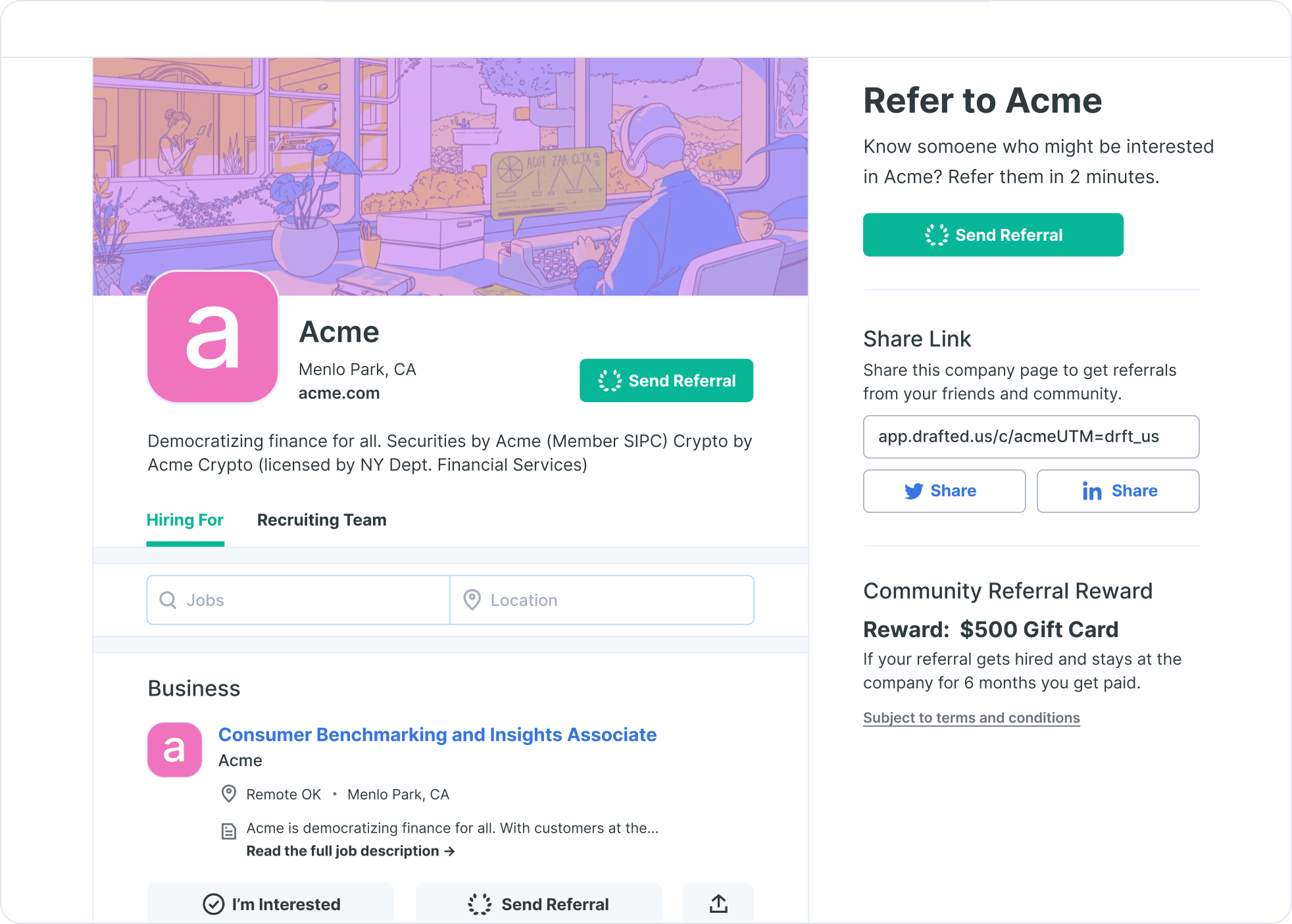 Image of example external referral public page