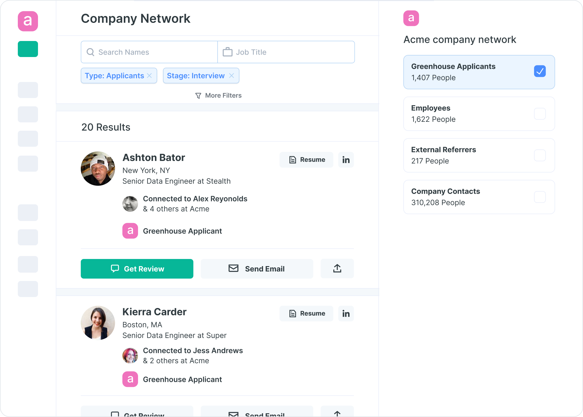 Image of an example of what your company network looks like in Drafted