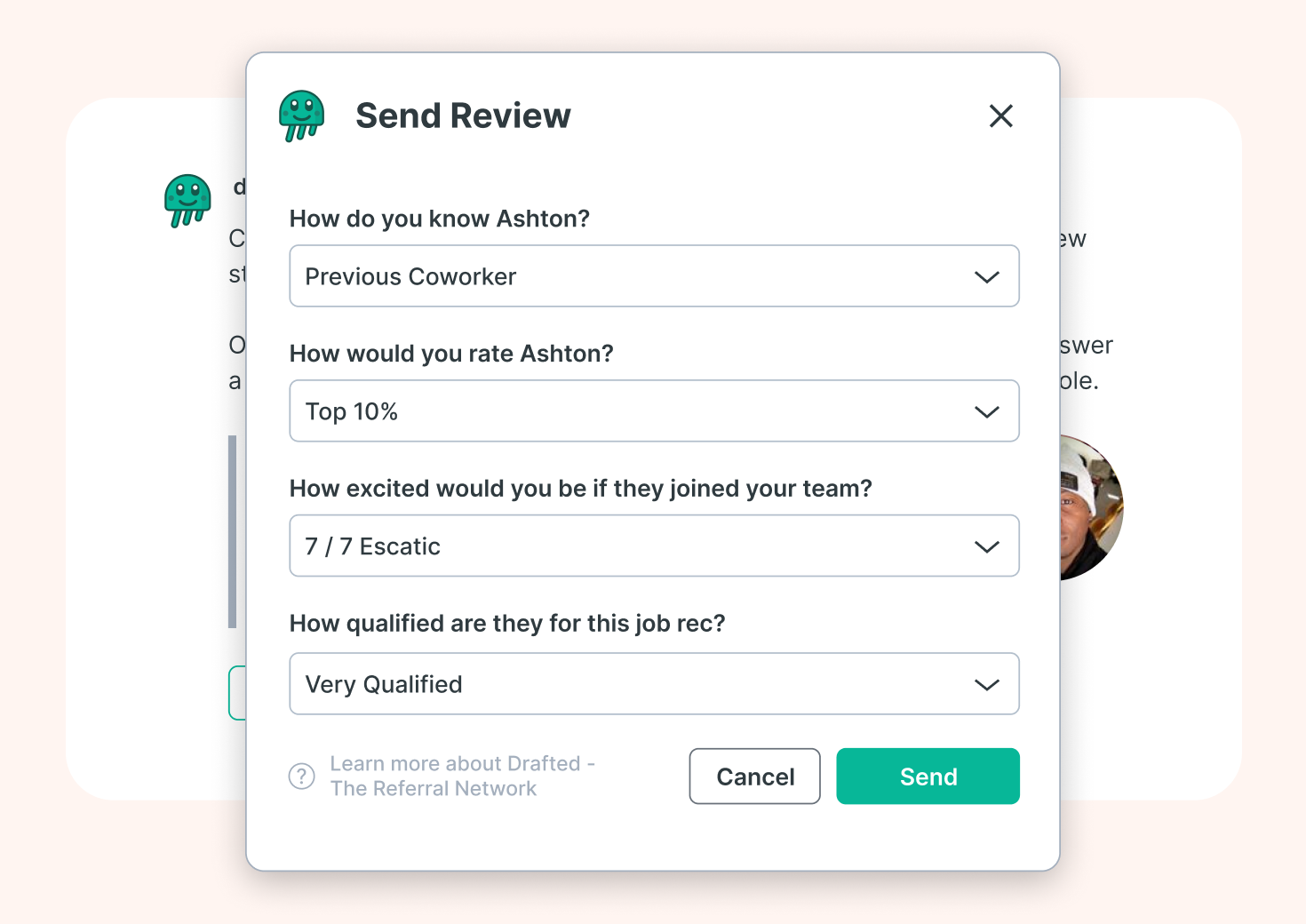 Image of employee review form for candidates in your network
