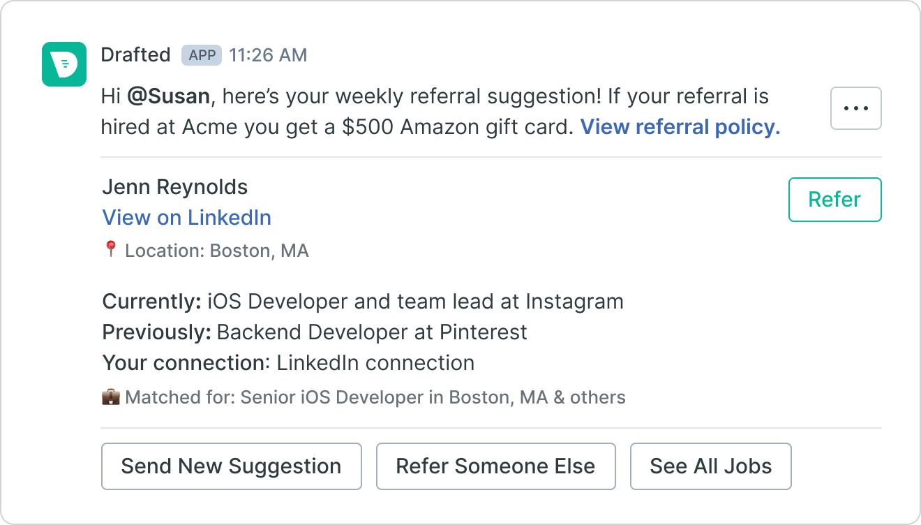 Image of employee referral suggestion in Slack