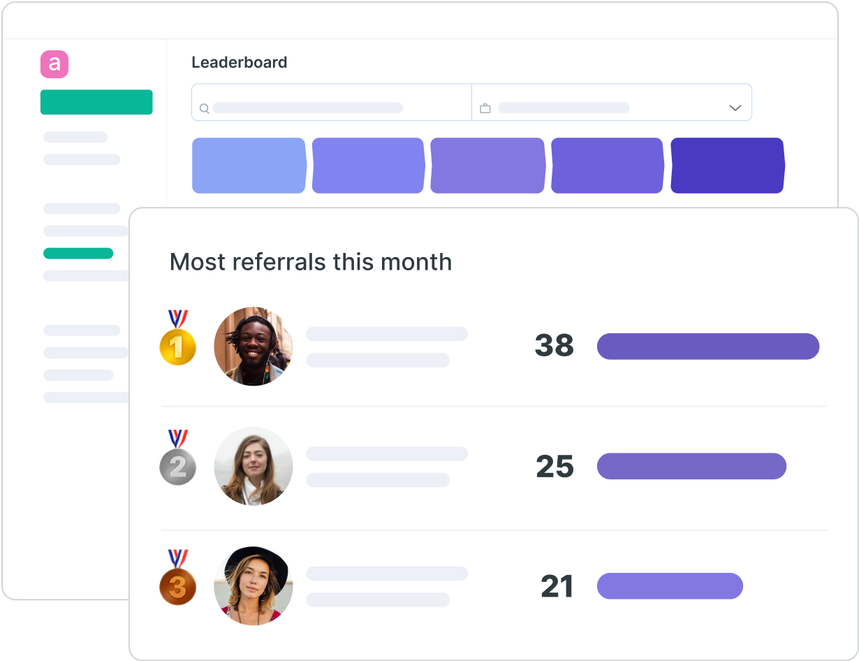 Image of the Drafted Leaderboard to create employee referral competitions