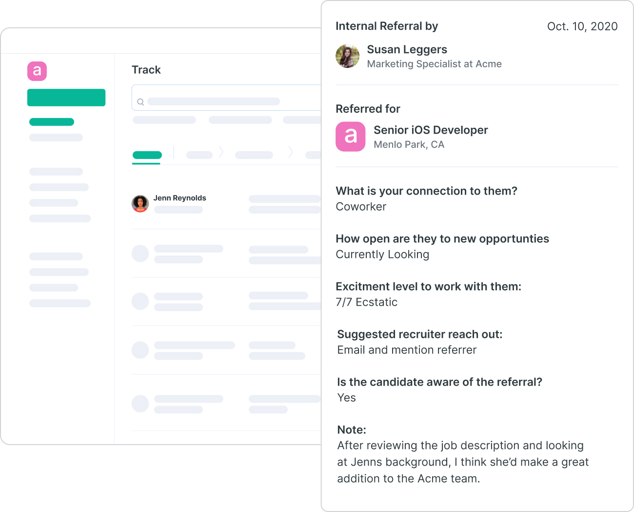 Image of employee referral form in Slack