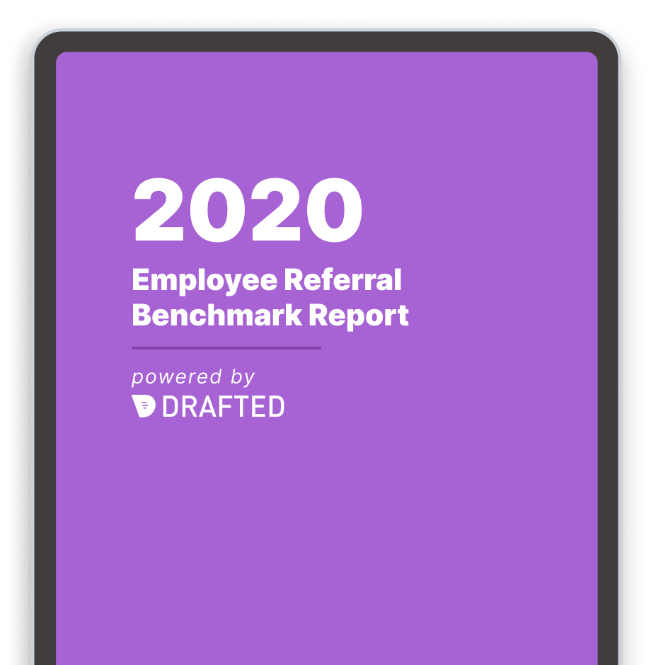 Image of the 2020 employee referral benchmark report cover