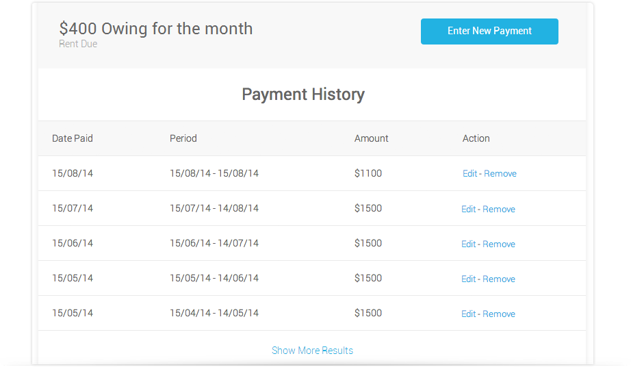 Example of Payment History Screen