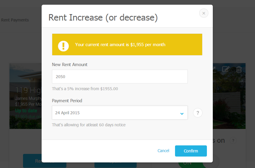Enter the rent increase amount and select the starting date