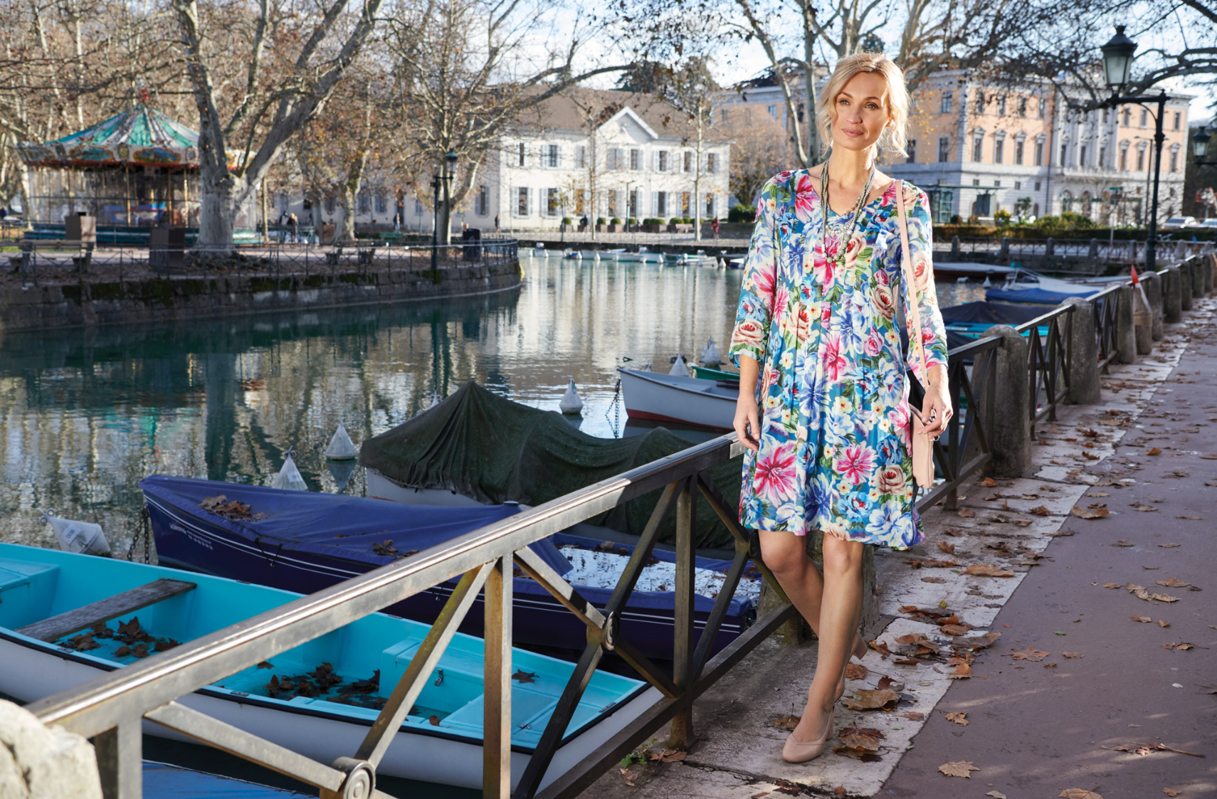 Printed Georgette Dress shot in Annecy