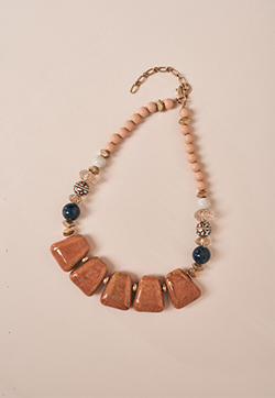 Orange Ceramic Block Stone Collar