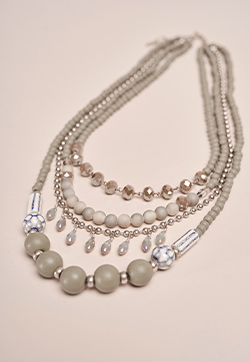 Long Grey Statement Multi Row Necklace