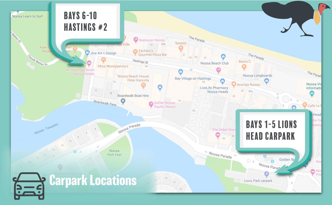 Rideshare Noosa Carpark Locations