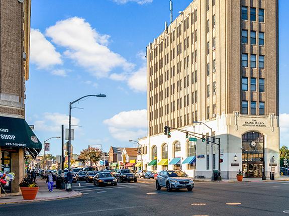 Street view of beautiful buildings in downtown Bloomfield.