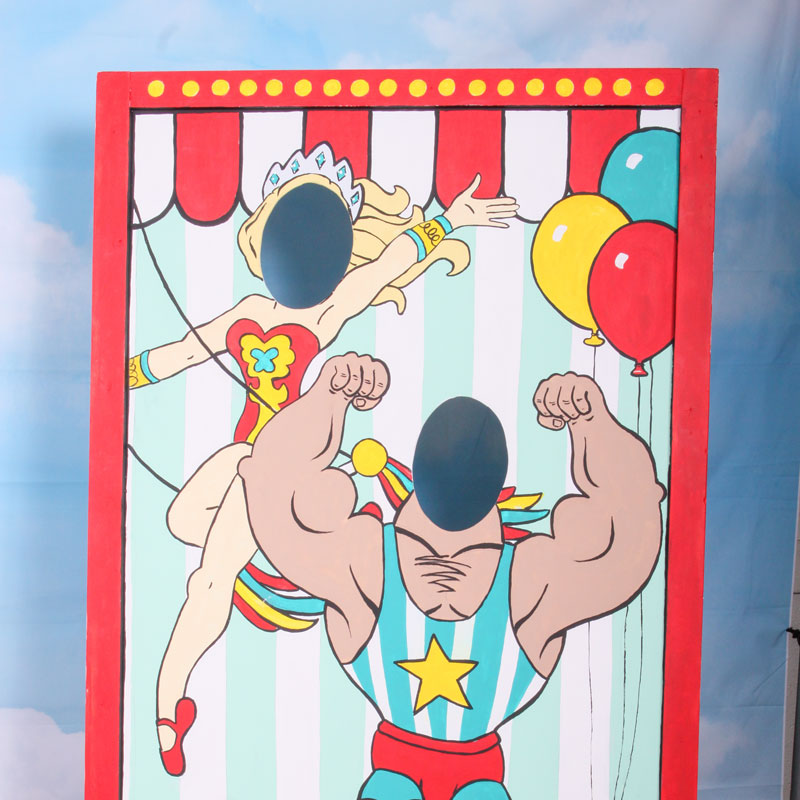 A carnival photo booth at Denim and Diamonds