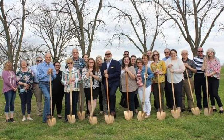 Volunteers breaking ground on the new Stumpff Chapel of Grace at The Journey Home