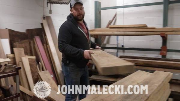 John Malecki picks out lumber for DIY Door Panels