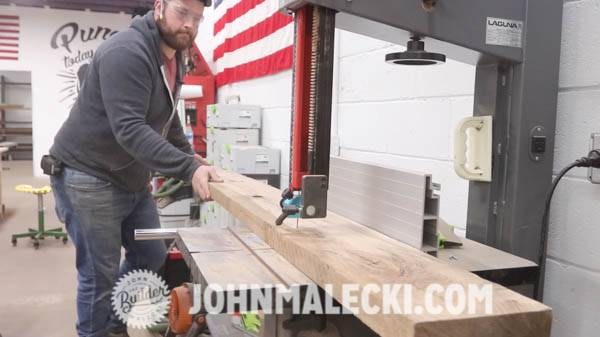 John malecki squares the door rails on his DIY door panels