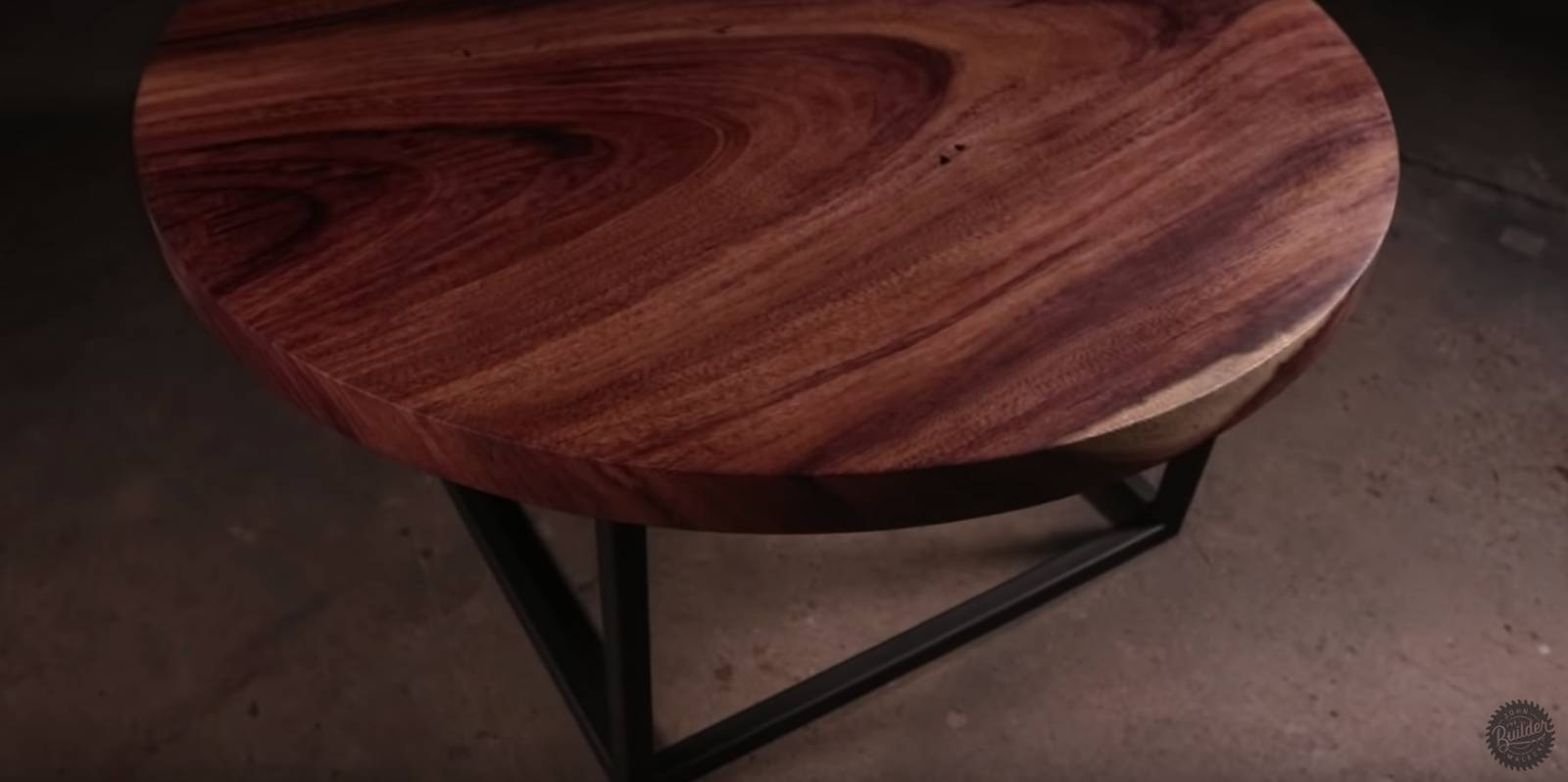 a dark image of a wood slab coffee table built in one day