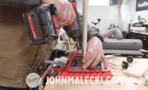 John Malecki cuts pocket hole joinery in his DIY cart pieces