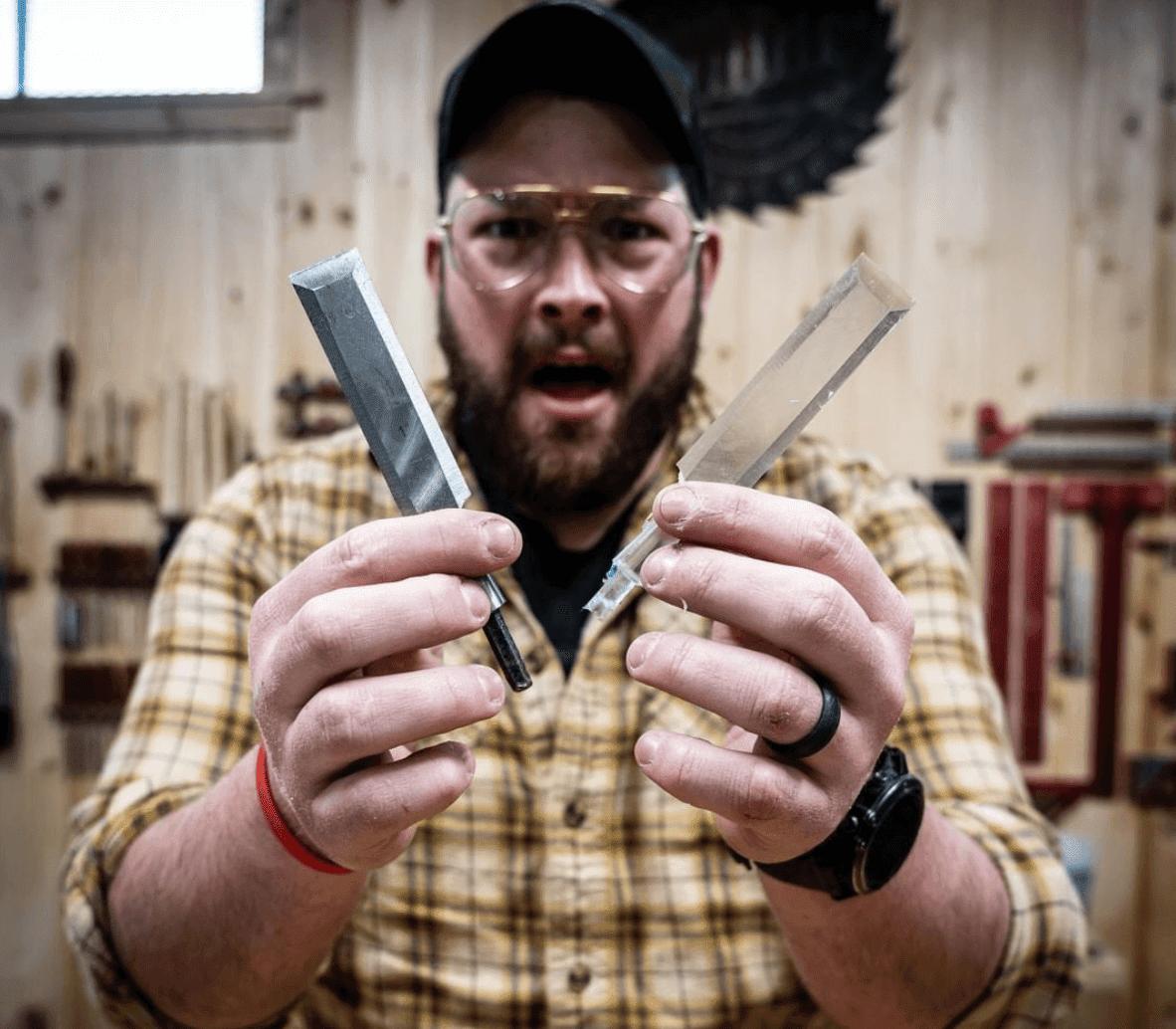 John Malecki holds epoxy chisel