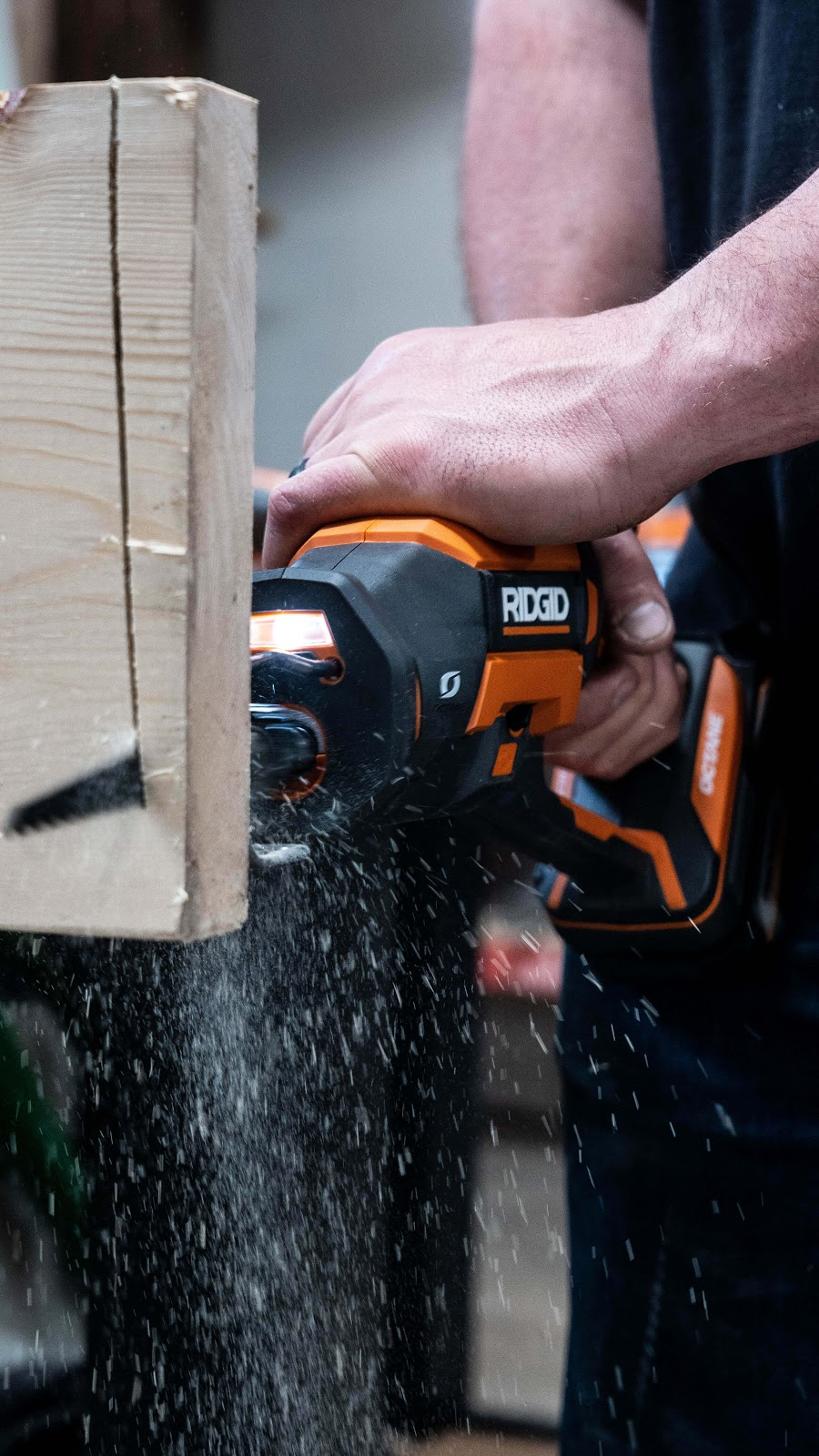 Cutting wood with RIDGID OCTANE saw