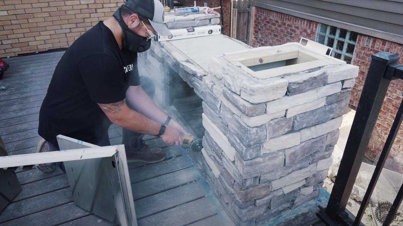 person building