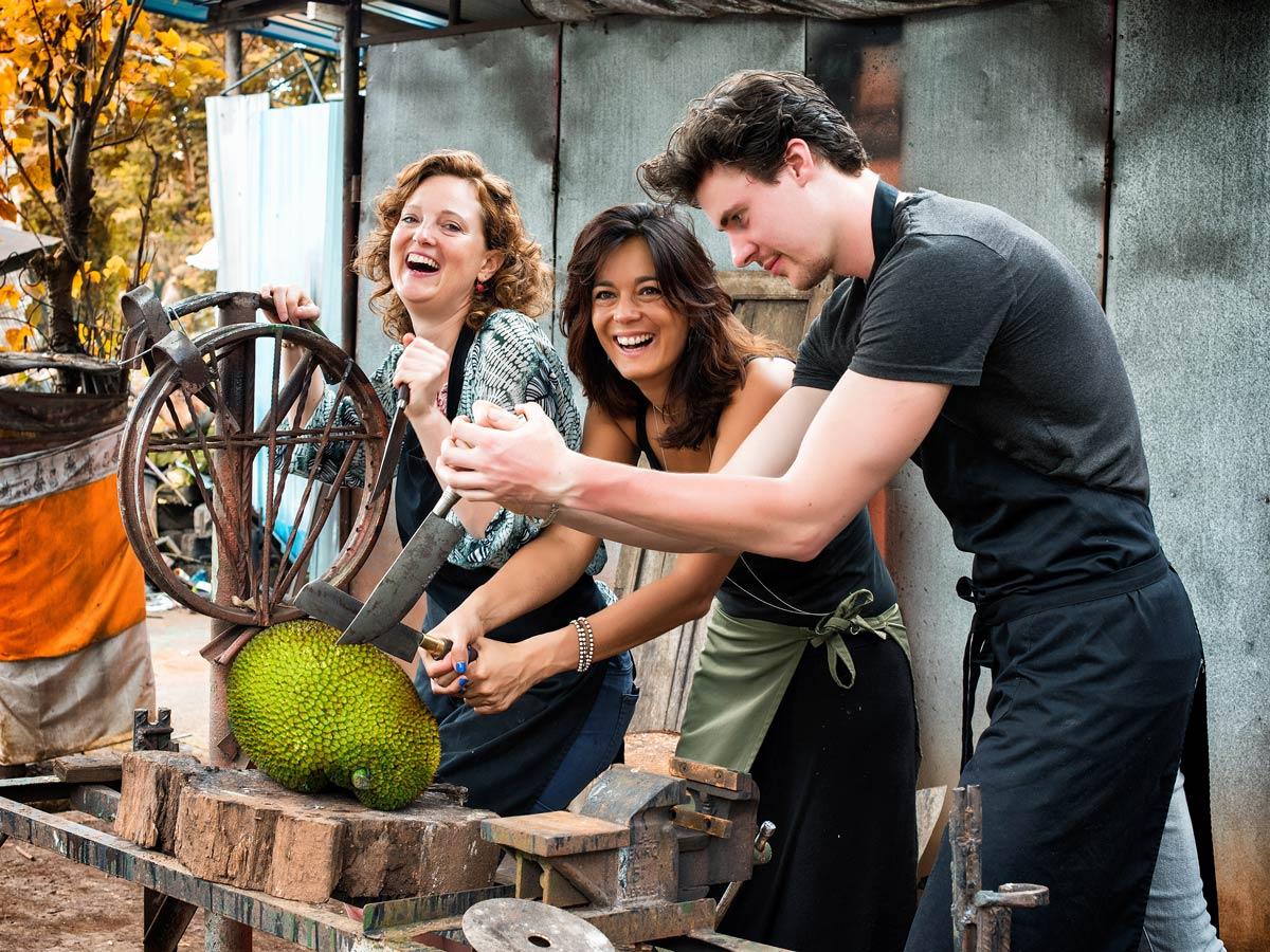 Meet Jack team cutting jackfruit