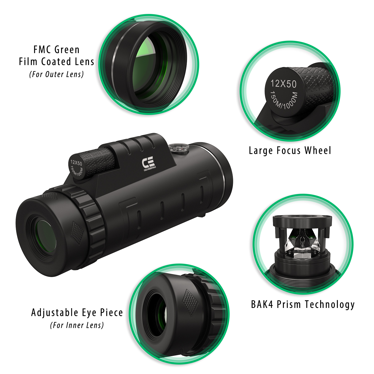 Monocular telescope info-graphic 3D design showing product features