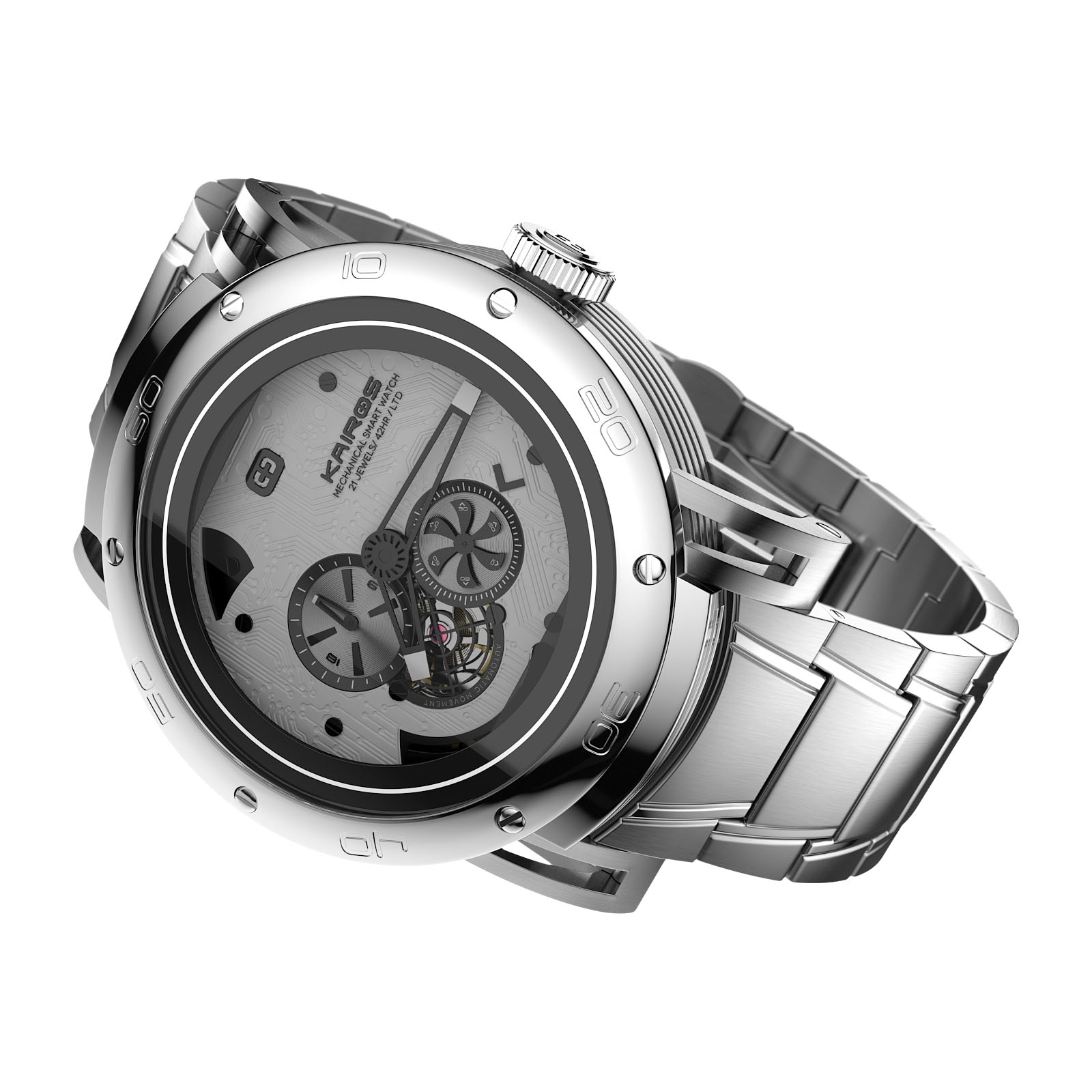 Kairos' MSW hybrid smartwatch CGI with metal band
