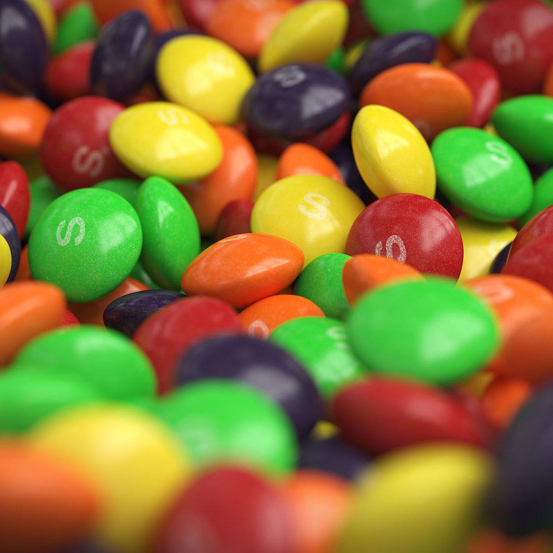 Skittles 3D rendering