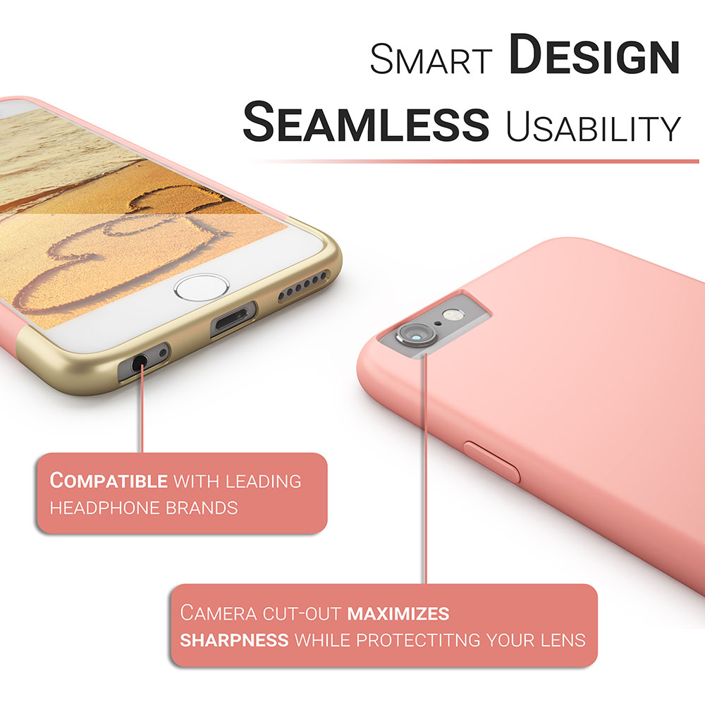 Primed4U Slim phone case info-graphic with white iPhone and pink case
