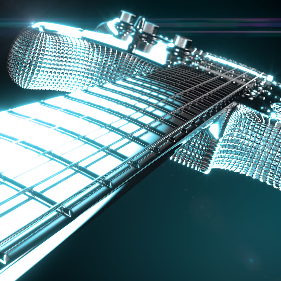 Fender Stratocaster guitar concept 3D rendering with a skeleton style body and lens flares