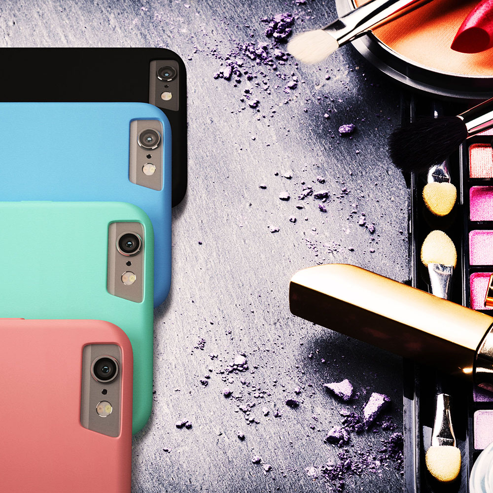 Primed4U's iPhone slim case series with makeup in black, blue turquoise, and pink