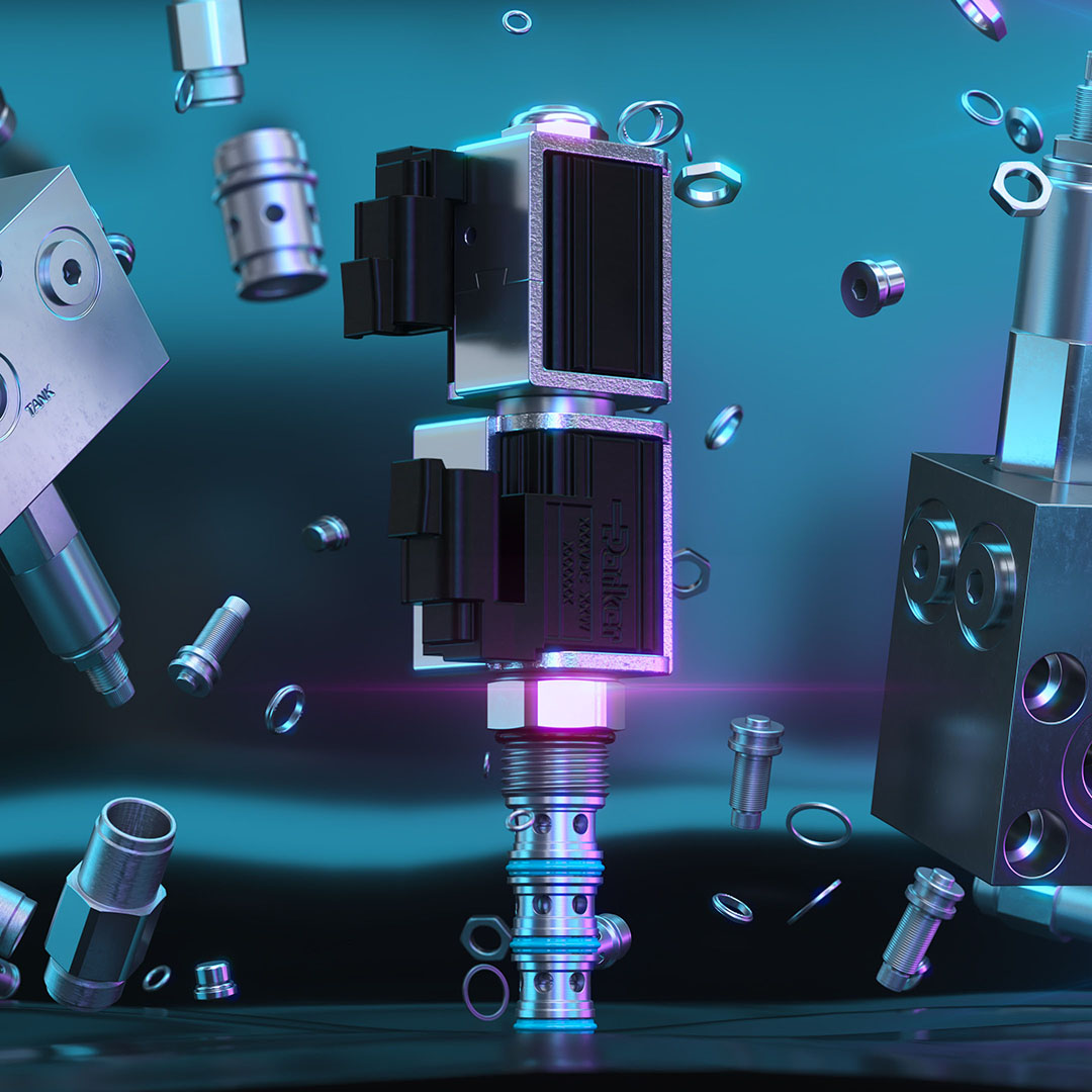 Industrial components exploded view and visual effects 3D rendering