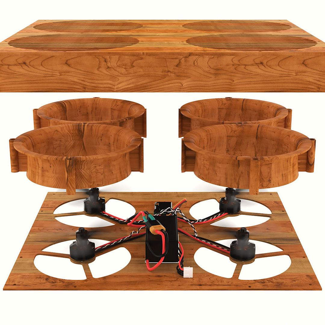 Drone chopping block break-apart 3D product rendering
