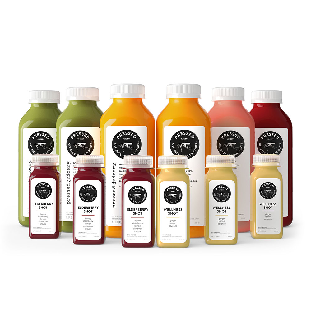 Pressed Juicery product arrangement on white background