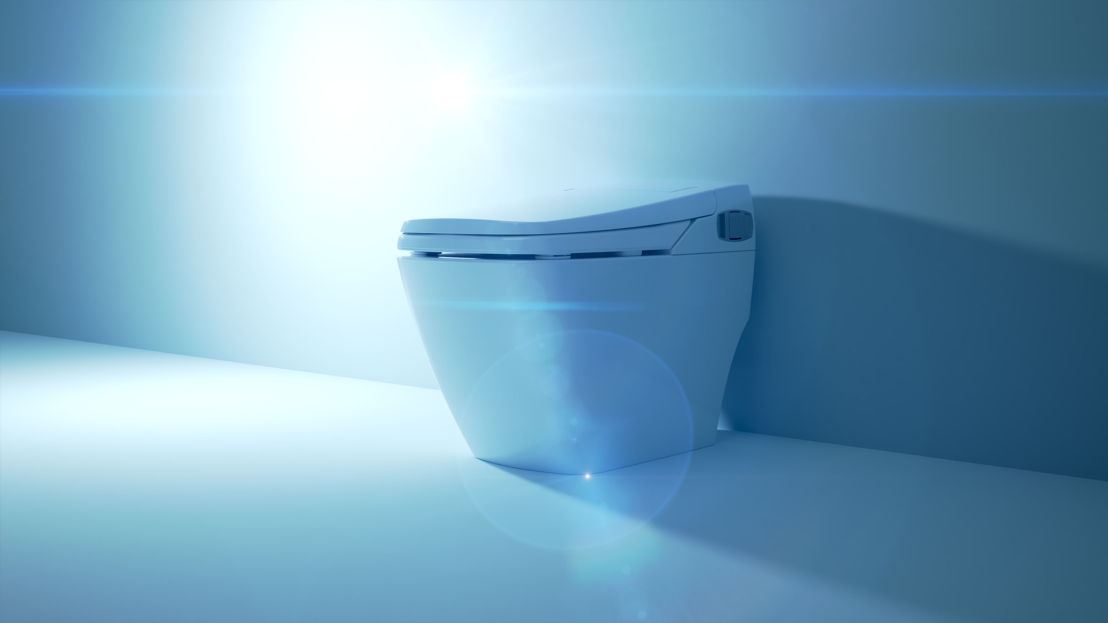 BioBidet Prodigy smart toilet device in blue environment