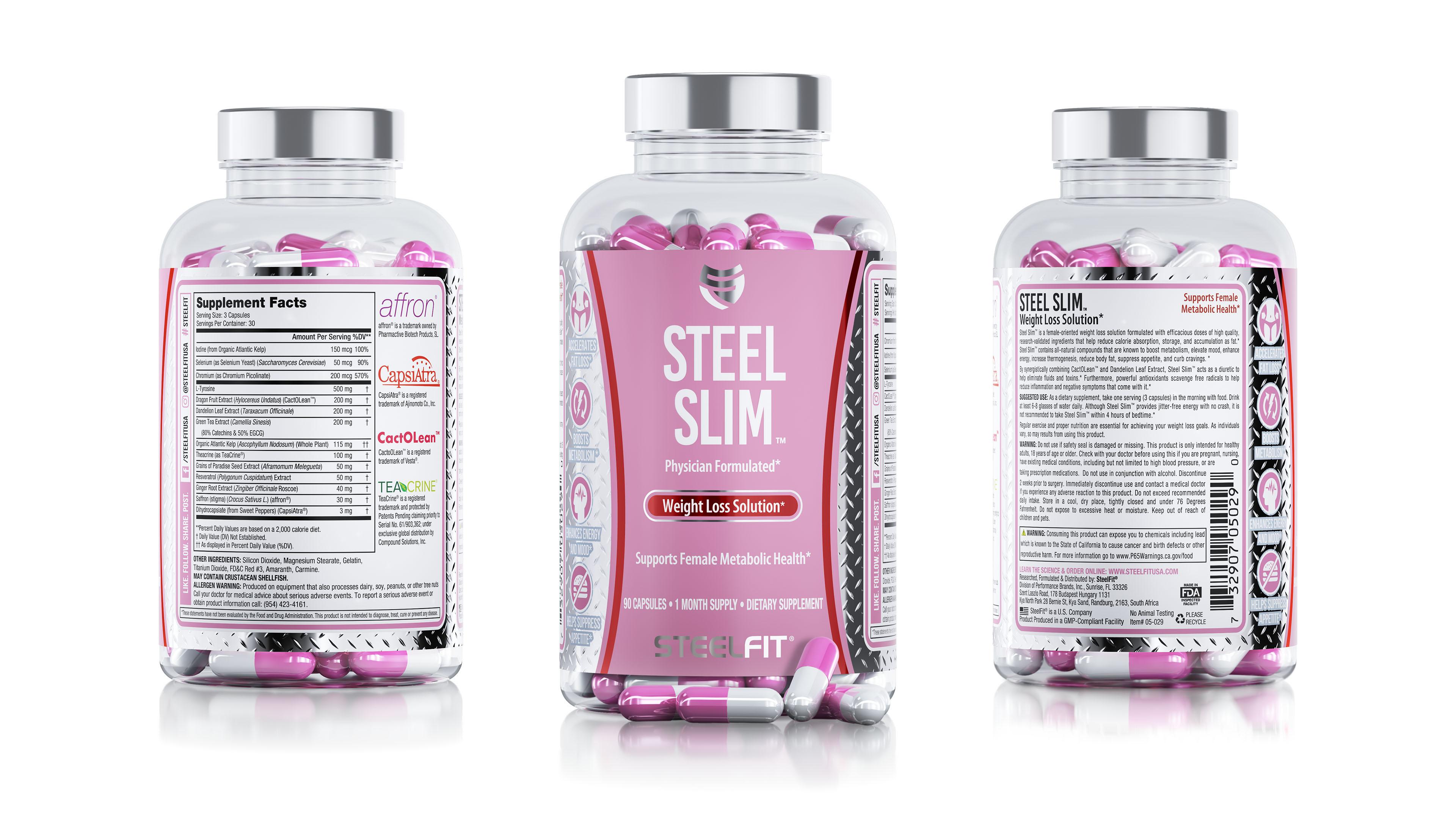 Steel Slim nutrition capsule container package renderings