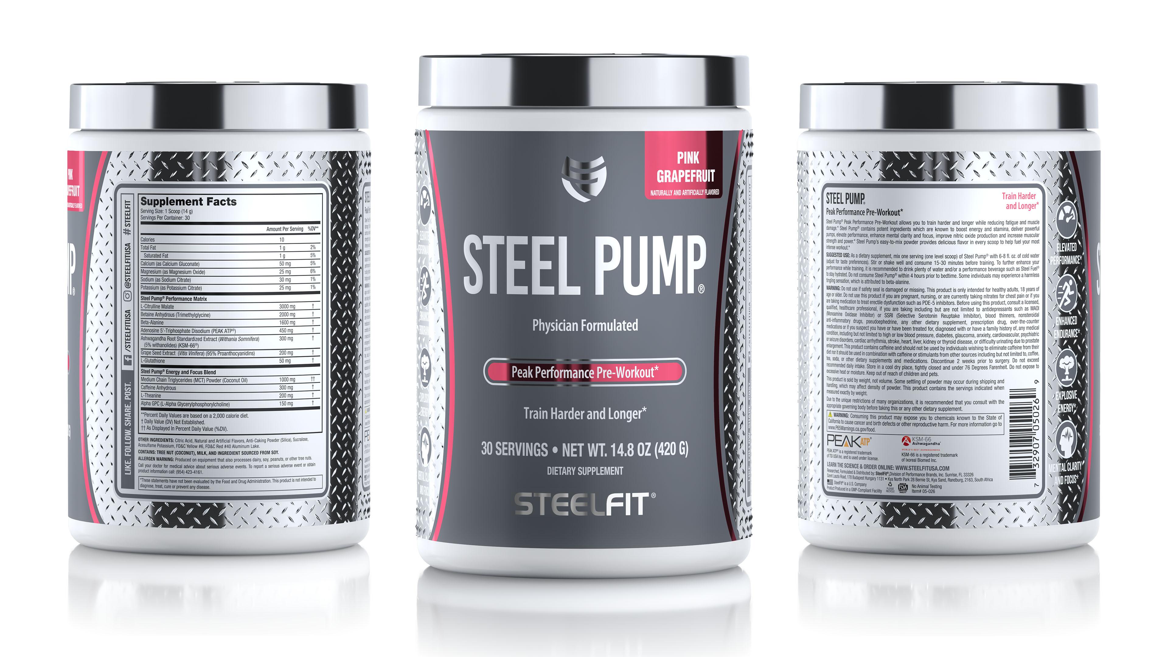 Steel Pump nutrition capsule container package renderings