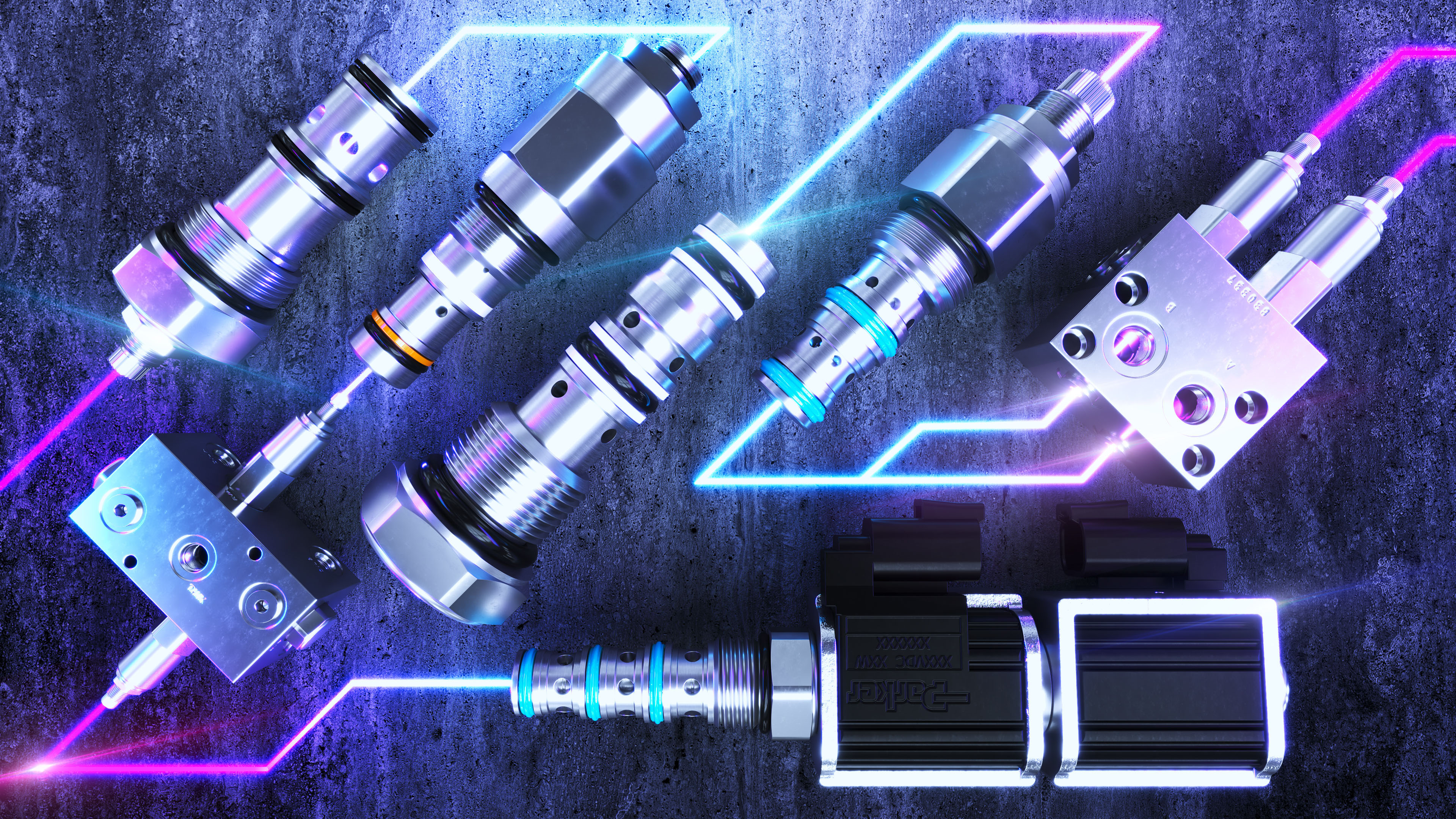 Industrial component hero style rendering with concrete background and light effects