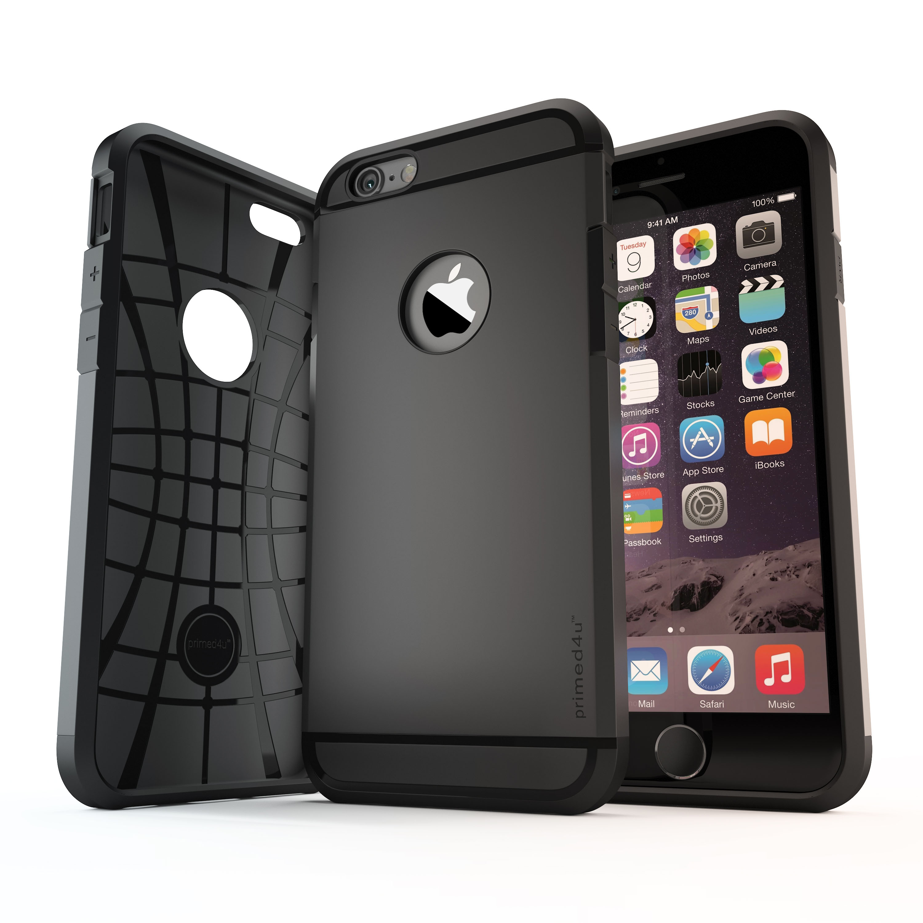 Black phone case 3D rendering with iPhone on white background