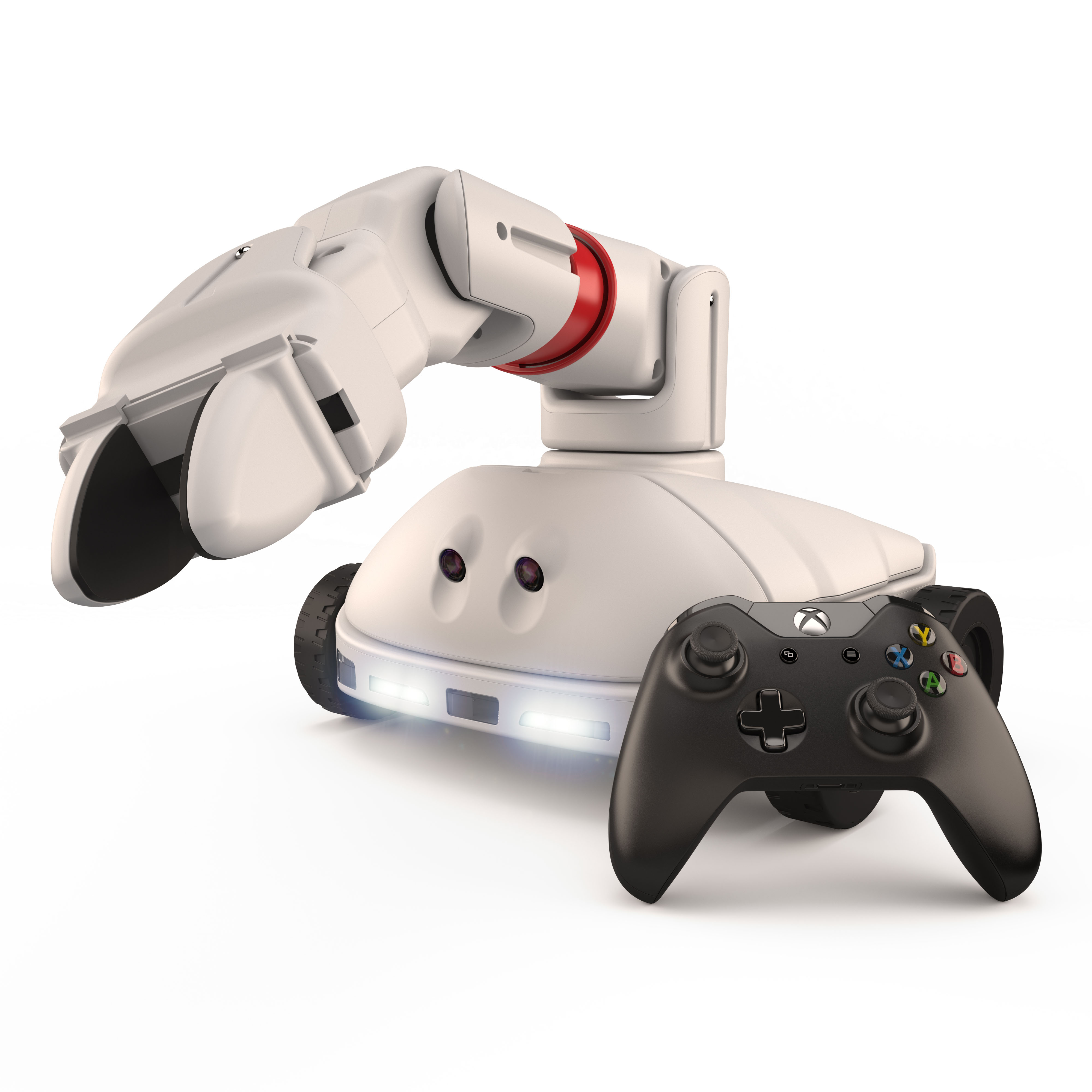 Robotic device with wheels, arm, and XBox 360 controller