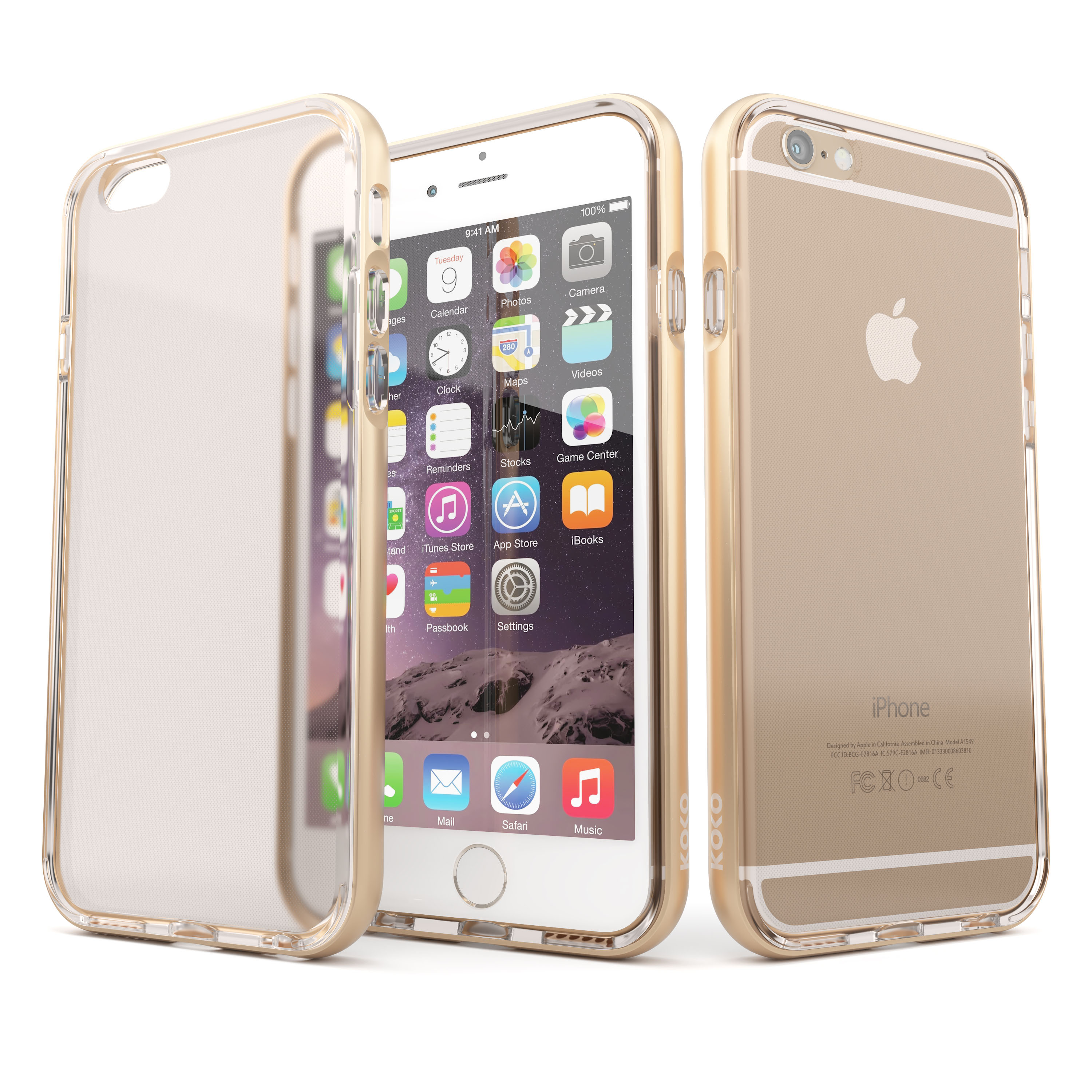 Gold iPhone case 3D product rendering