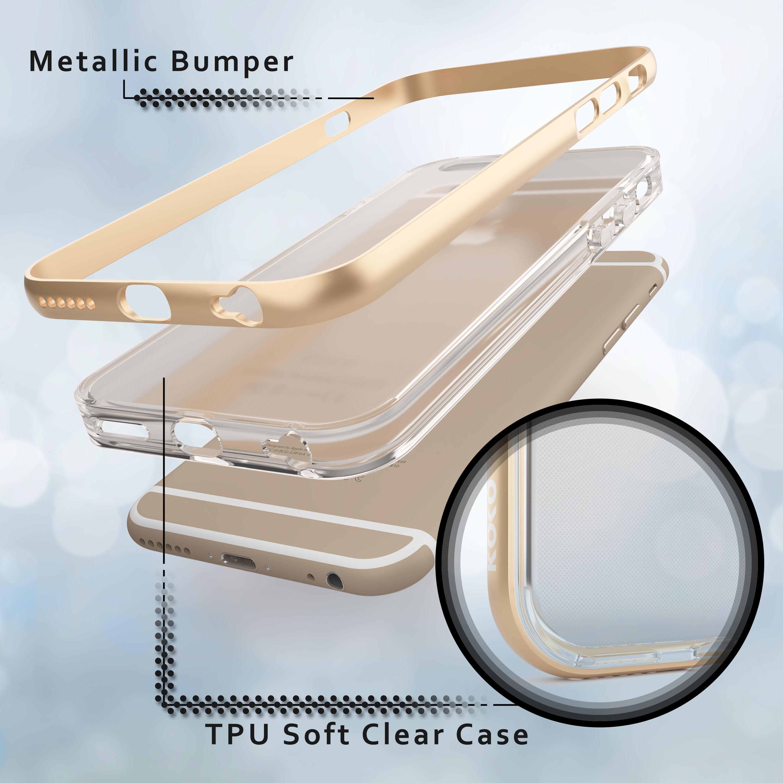 iPhone case break-apart showing metallic bumper and back plastic