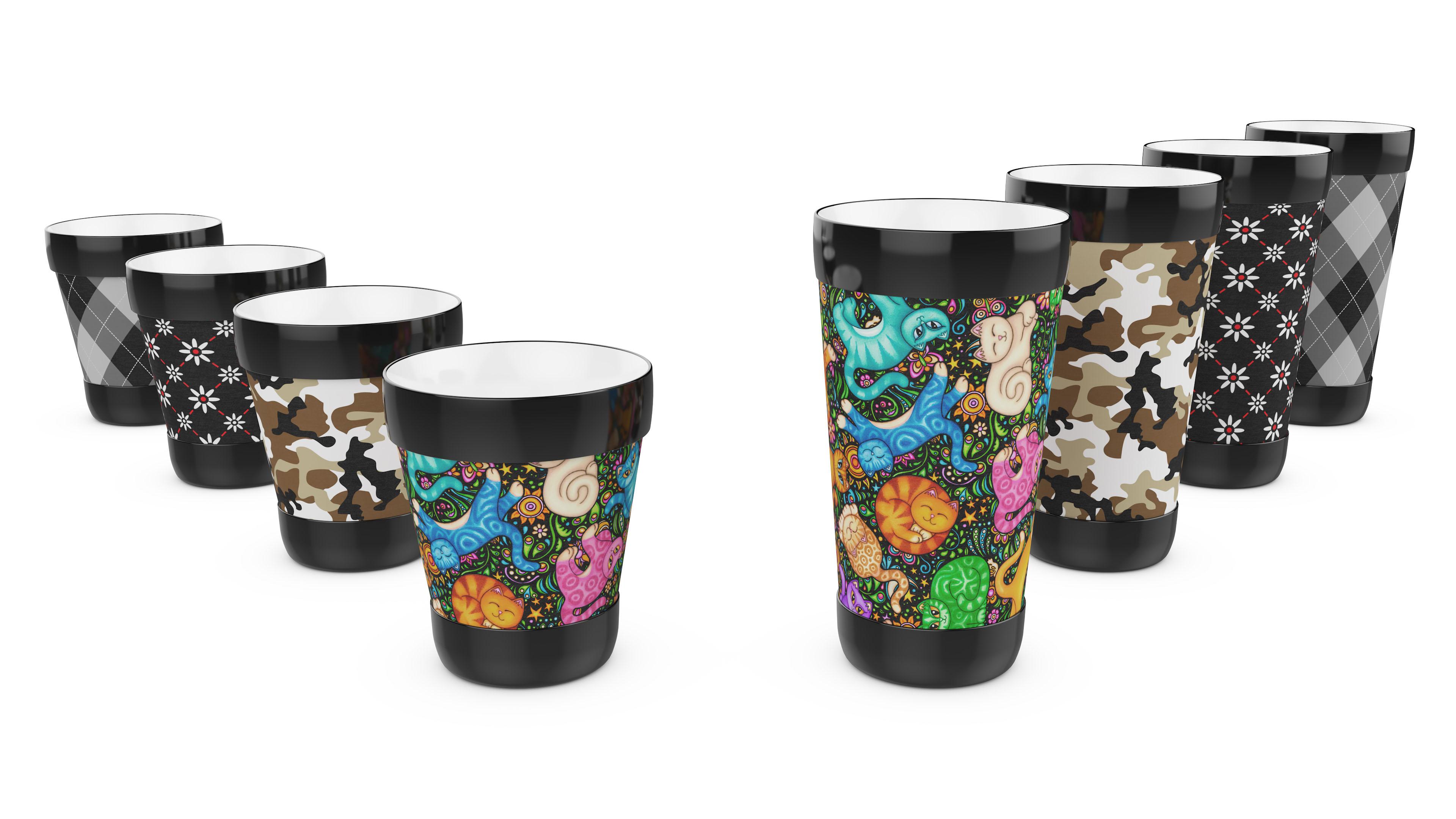 Mugzie drink tumbler cups in different patterns